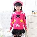 Venda quente 2015 Da Menina Pullover Blusas De Lã Grossa Mistura Padrão de Estrela Camisola de Malha Meninas