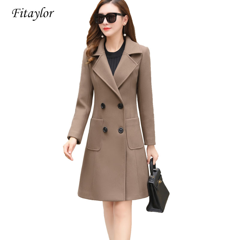 Fitaylor 2019 New Women Woolen Coats Plus Size Long Jackets Winter Spring Female Slim Casual Office