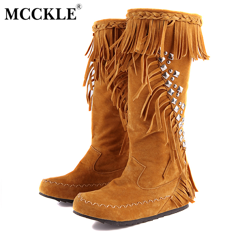 MCCKLE 2017 Women's Tassel Sewing Rivets Mid Calf Boots Ladies Fashion Casual  Autumn Winer Vintage Flock Style Plus Size Shoes double buckle cross straps mid calf boots
