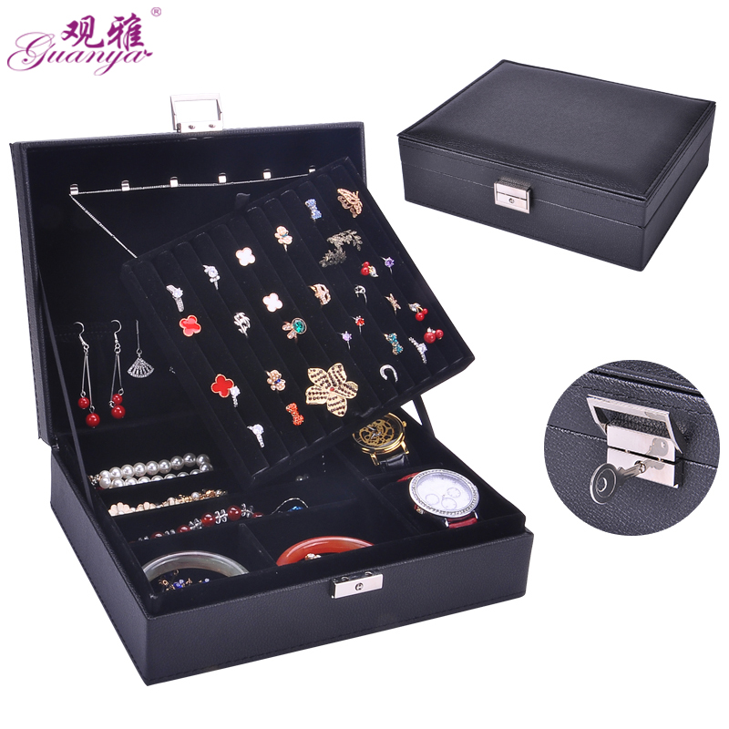 Guanya leather Jewelry Display earring holder jewellery organizer 2 layer wedding ring box necklace jewelry boxes organza bag