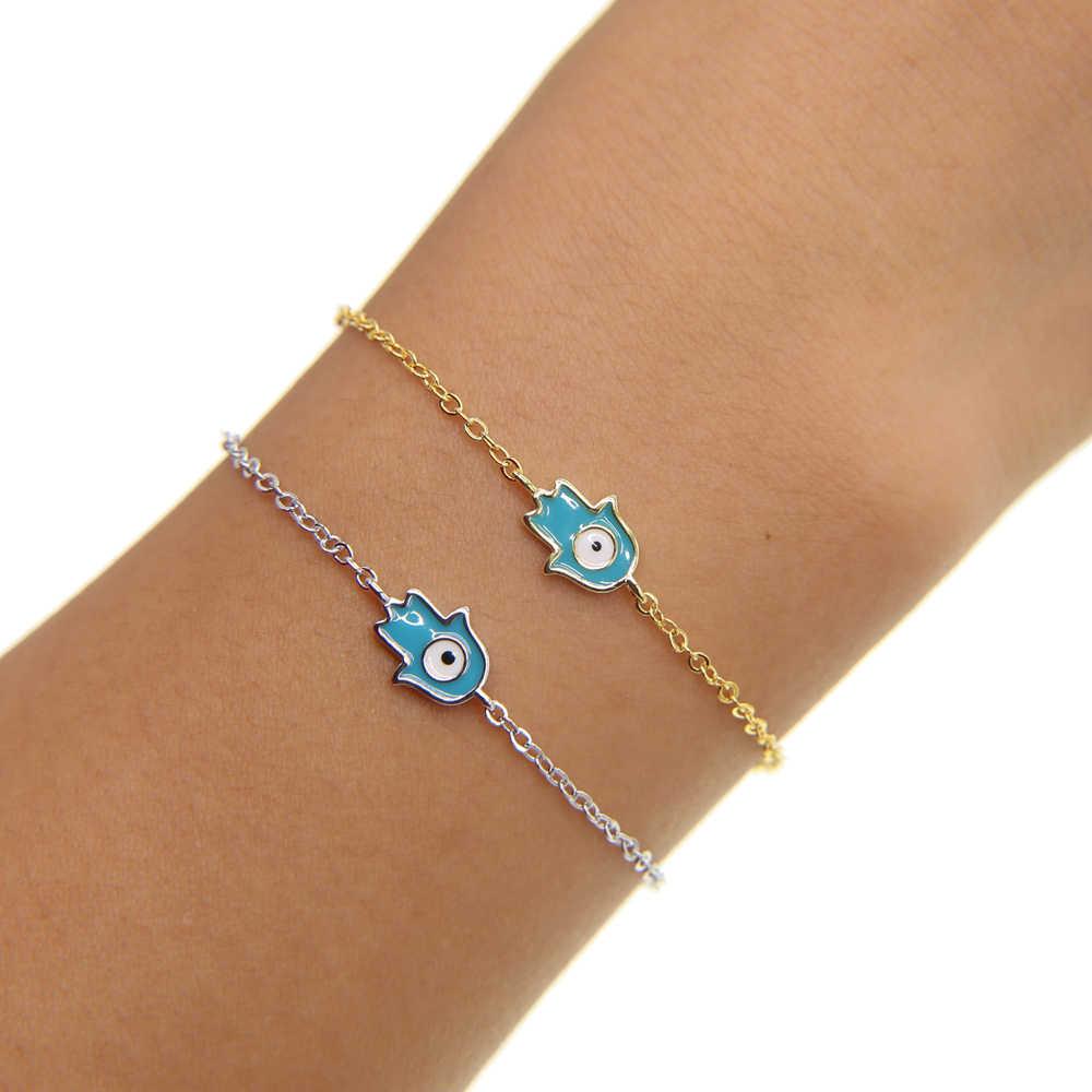 Bonne chance breloque main de Fatima bracelets pour Femme turquie Protection bijoux Hamsa mauvais œil Talisman émail Bracelet Femme