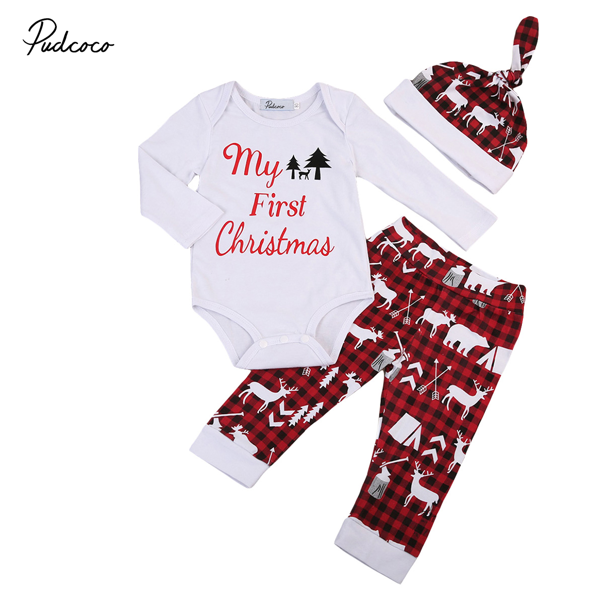 3pcs Xmas set Newborn Baby Girls Boys My First Christmas long sleeve Tops Romper+Deer Long Pants Hat Outfits my first christmas newborn baby girl long sleeve cotton romper tops snowman print bowknot skirt headband 3pcs xmas clothes set
