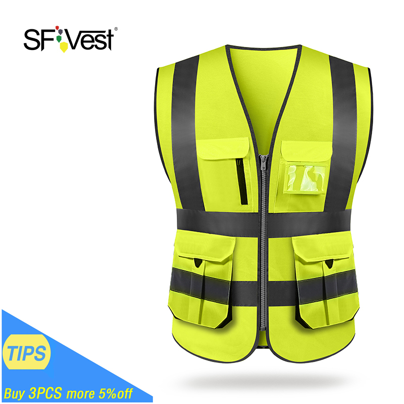 High Visibility Reflective Safety Vest Men Wimen Mesh Breathable Reflective Vest Multi Pockets Workwear Safety Waistcoat Comfortable Feel Sports & Entertainment Running Vests