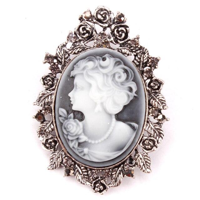 Vendita diretta della fabbrica di stile dell'annata retro cammeo spilla pins incrostato con foglia e di cristallo per le donne
