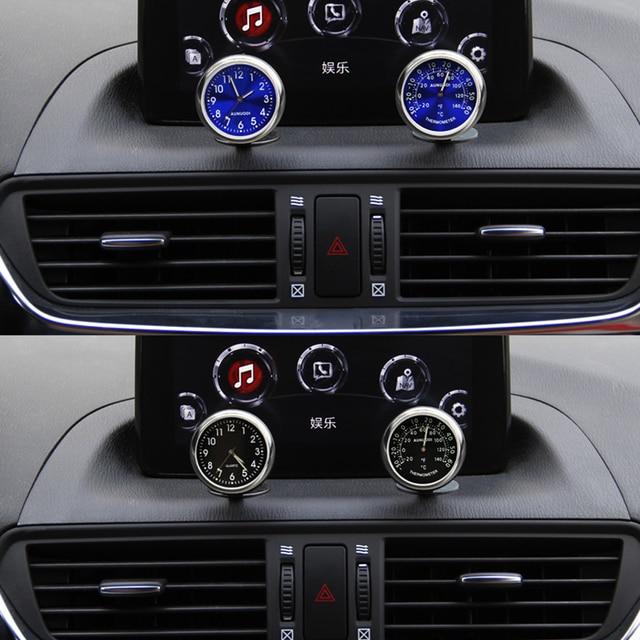 Luminous Car Clock Thermometer Air Vent Clip For Auto Decoration