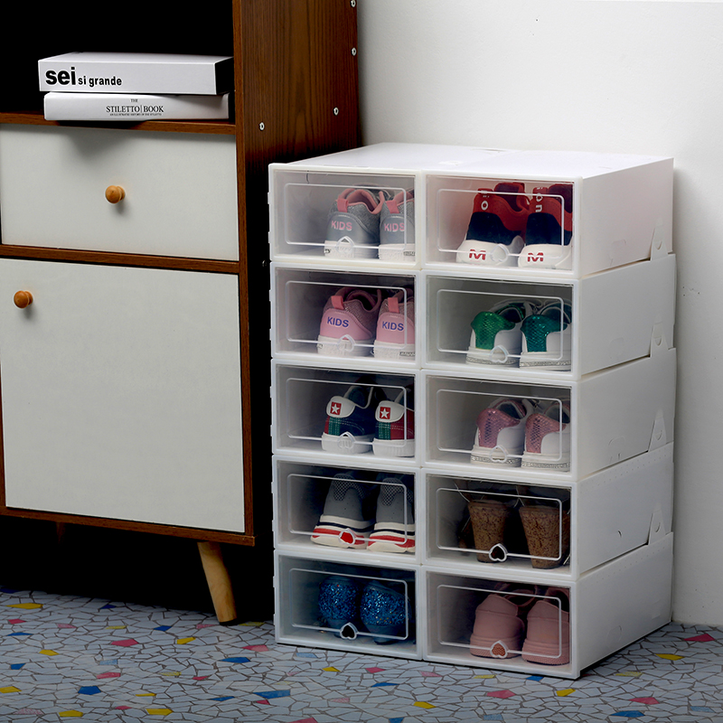 Image 2 - 6PCS/Set Thickened flip shoes transparent Drawer Case Plastic Shoe Boxes Stackable Box storage box shoe storage organizer-in Storage Boxes & Bins from Home & Garden