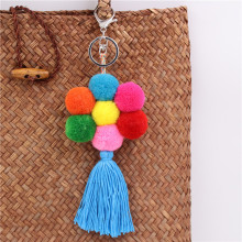 2019 New Popular 1pc Boho Style Flower Charms Wooden Beads With Pom Keychain Colorful Tassel Key Ring Pendant Jewelry