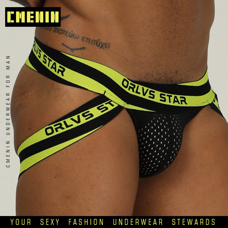 Brand Men Mesh Jockstrap Underwear G-Strings & Thongs Sexy Gay Penis Pouch Bikini Buttocks Hollow Thong Men Underwear OR206