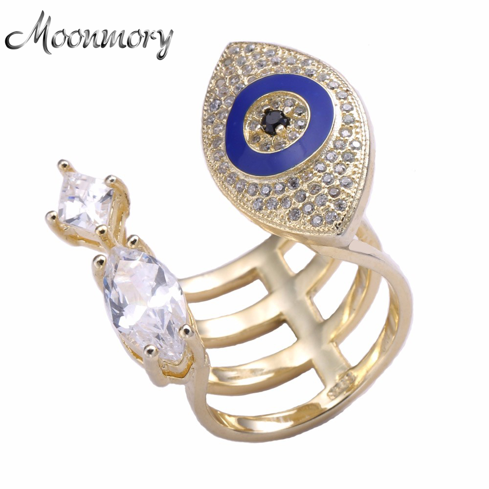 Moonmory 925-Sterling-Silver Ring Evil-Eye Engagement Fashion Jewelry Women Zirconia