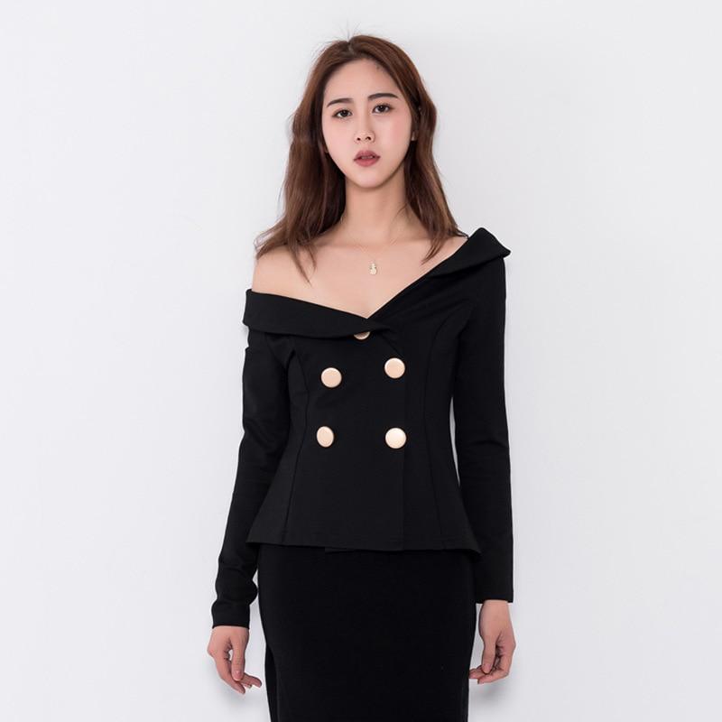 Fashion Off Shoulder Asymmetrical Collar Blazers Women Slim Black Short Jacket Coats Sexy Club Party Double Breasted Blazer