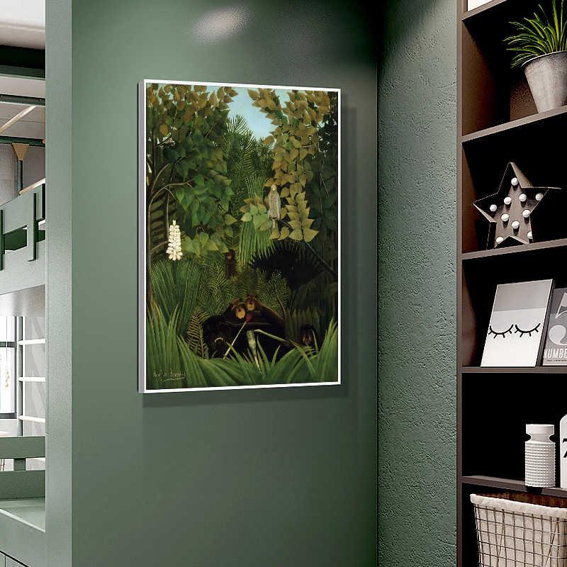 Dinding Seni Rousseau Lanskap Kanvas Poster Cetak Modern Hutan Lukisan Ruang Belajar Dekorasi Ruang Tamu Gambar
