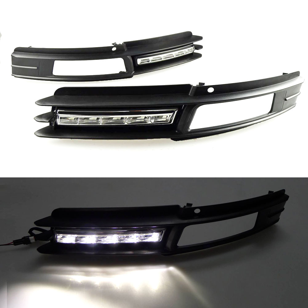 DRL Daytime Running Light for Audi A6 C6 2009 2010 2011 Left Right side Chrome White DRL Waterproof Car Styling light купить дешево онлайн