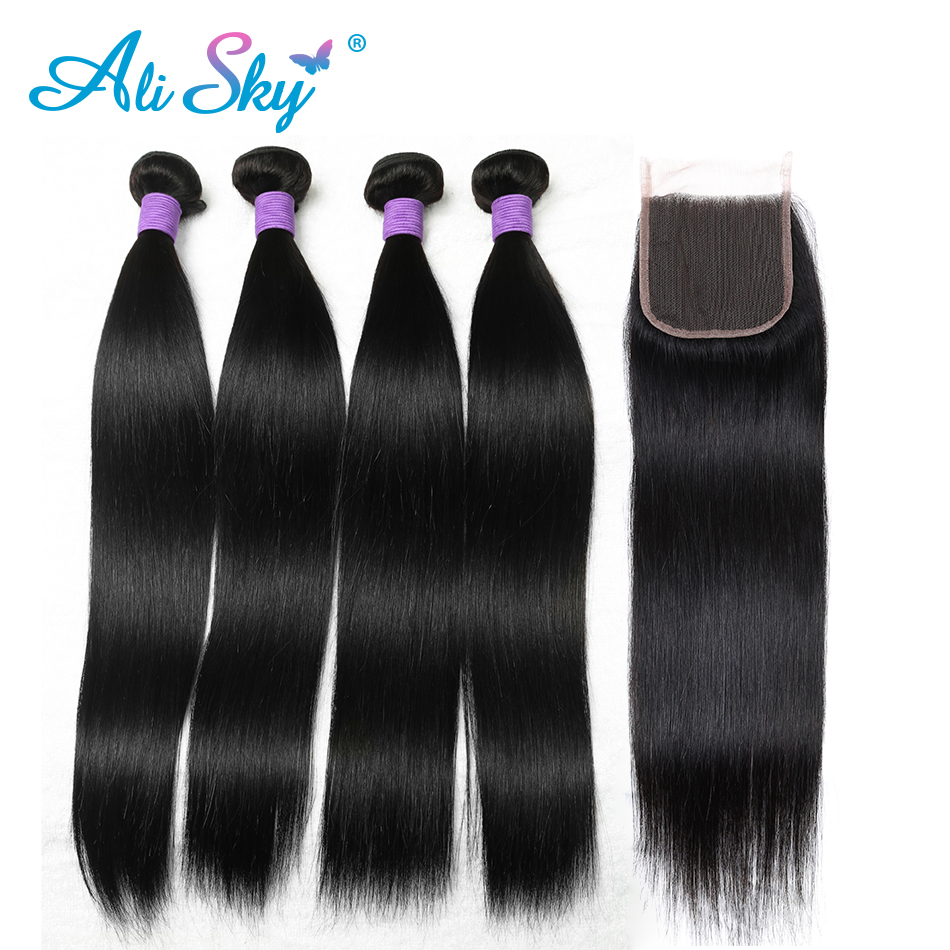 Peruvian 4 Bundles Straight Hair With 1pcs Top Lace Closure Pre Plucked Human Hair Weft non