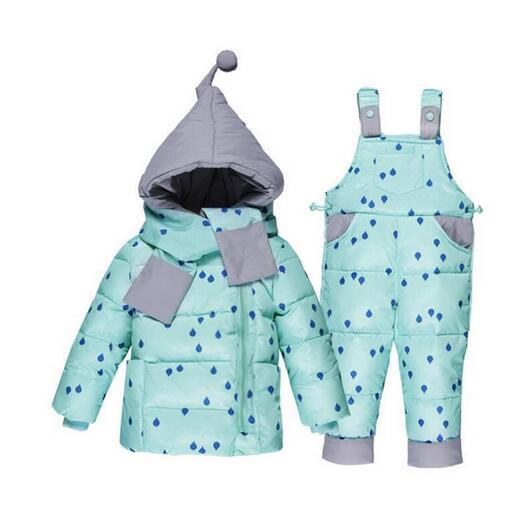 BibiCola baby girls winter clothing sets kids hooded jacket with scarf children winter warm down jacket coat+warm pants 2pcs set