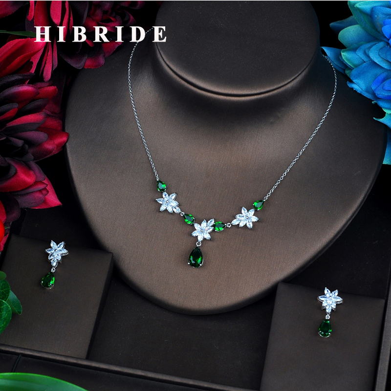 HIBRIDE Famous Design Brilliant AAA Green Cubic Zircon Wedding Women Bridal Jewelry Sets Necklace Sets Dress Accessories N-534