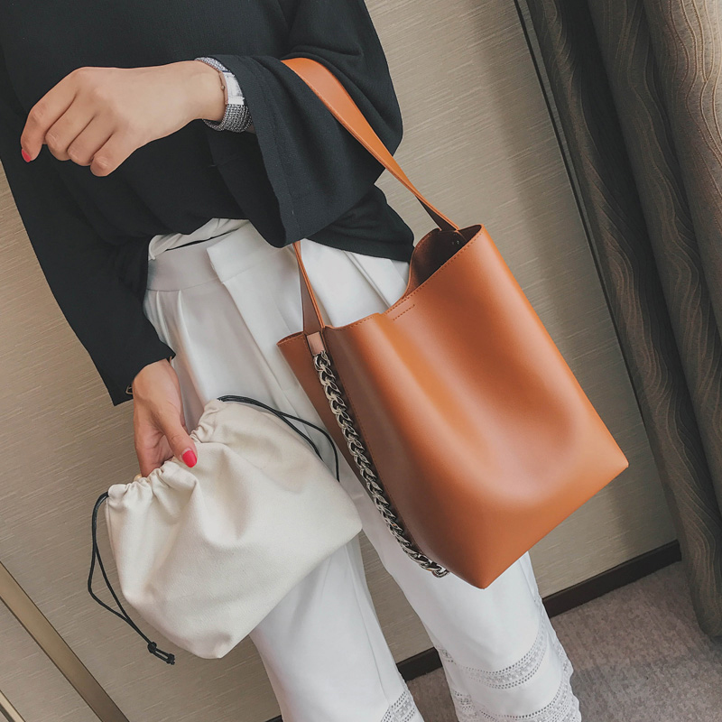Design Women Large Capacity Tote Bag Shoulder Bag Chain Bucket Bag PU Leather Ladies Composite Bag
