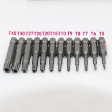 12 шт. 50 мм T5, T6, T7, T8, T9, T10, T15, T20, T25, T27, T30, T40 Магнитный звездообразные насадки для отверток комплект