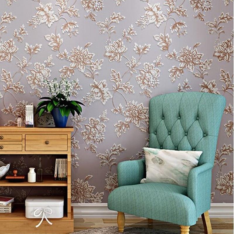 Beibehang papier peint Non tissé de haute qualité motif de fleurs 3d revêtement mural salon moderne décoration de la maison rouleau de papier peint chaud