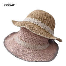 Female Handmade Crochet Large Wide Brim Foldable Straw Hats for Women Summer Anti-Uv Sun Hat Beach Sea Womens 2019 New