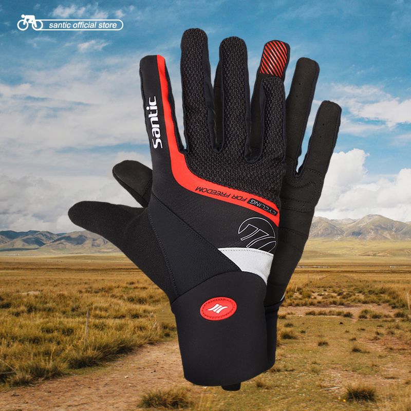 Santic <font><b>Cycling</b></font> Gloves Men Red Black Gel Warm Windproof <font><b>Full</b></font> Finger with Touch Function Keep Warm for Winter Autumn 5C09046