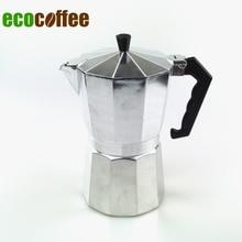 Kostenloser Versand High Quality Espresso Aluminium moka Espresso Kaffeemaschinen 3 Tassen 6 Tassen 9 Tassen 12 Tassen