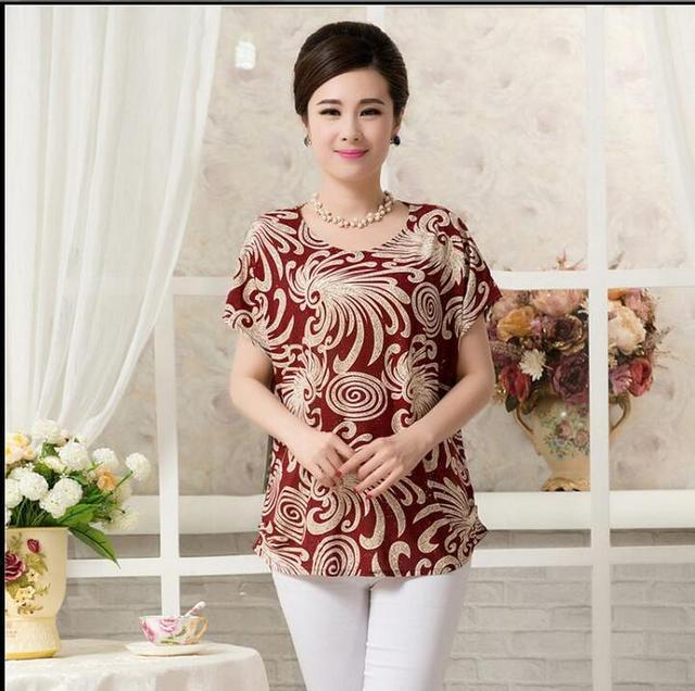 Viento nacional clothing madre de mediana edad las mujeres del verano de la corto-manga más tamaño sueltan tops camisas femeninas camiseta 4xl