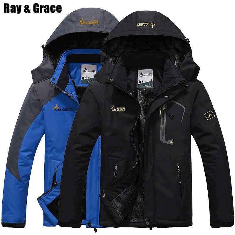 RAY GRACE hiver hommes randonnée veste extérieure thermique polaire vêtements imperméable épaissir femmes manteau Camping ski escalade Parka
