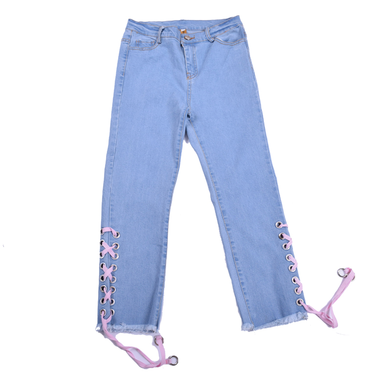 Fashion Women Mid Waist Denim Capri Skinny Jeans Stretch Lace Up Jeans Female Pencil Pants Light Blue Trousers Autumn New Ripped jeans for women autumn new fashion high waisted stretch jeans elastic female pencil denim soft pants scratched push up trousers