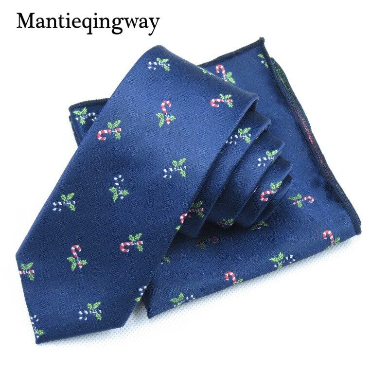 Mens Necktie Hanky Set For Mens Business Christmas Pattern Neck Tie Pocket Square For Mens Gravatas Slim Cravat
