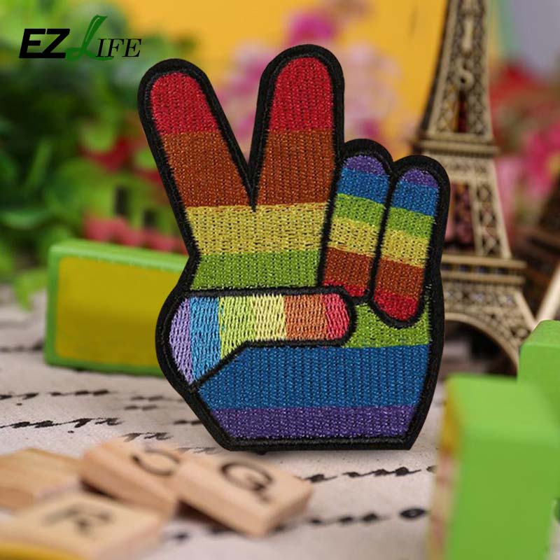 Rainbow Victory Hand Sign LGBT Peace & Pride Embroidered Iron On Applique Product Details Peace Fingers Patch CT0238
