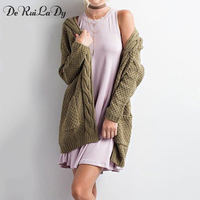 DeRuiLaDy 2017 Autumn Winter Fashion Women Long Sleeve Pocket Loose Knitting Cardigan Sweater Womens Cardigan Long