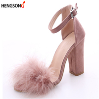 2017 Ankle Strap Fur Sandals Fashion Suede High Heels Women Sandals Nude Heels Summer Shoes Party