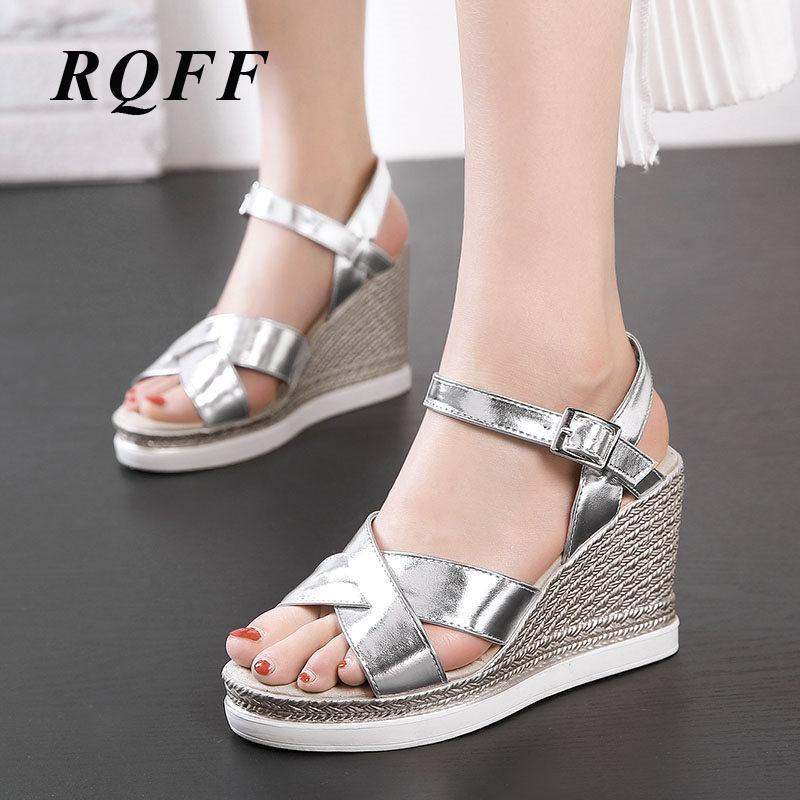Ladies Silver Gold Sandals Platform Gladiator Handmade Women Wedges Ankle Strap Fish Mouth High Heels Woman Summer Shoes Size 43