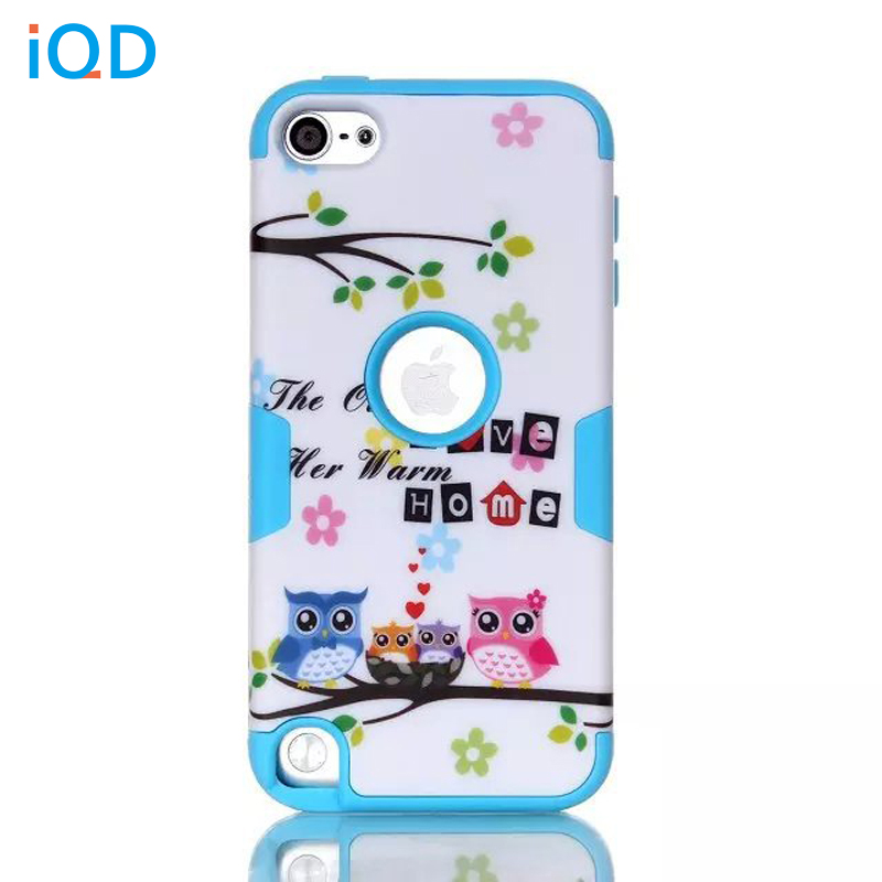 IQD For iPod Touch 6 5 Fitted Case Owl and robot models Hybrid 3 Layer Hard Cover Silicone Shell Cases for Apple iPod Touch 5 6