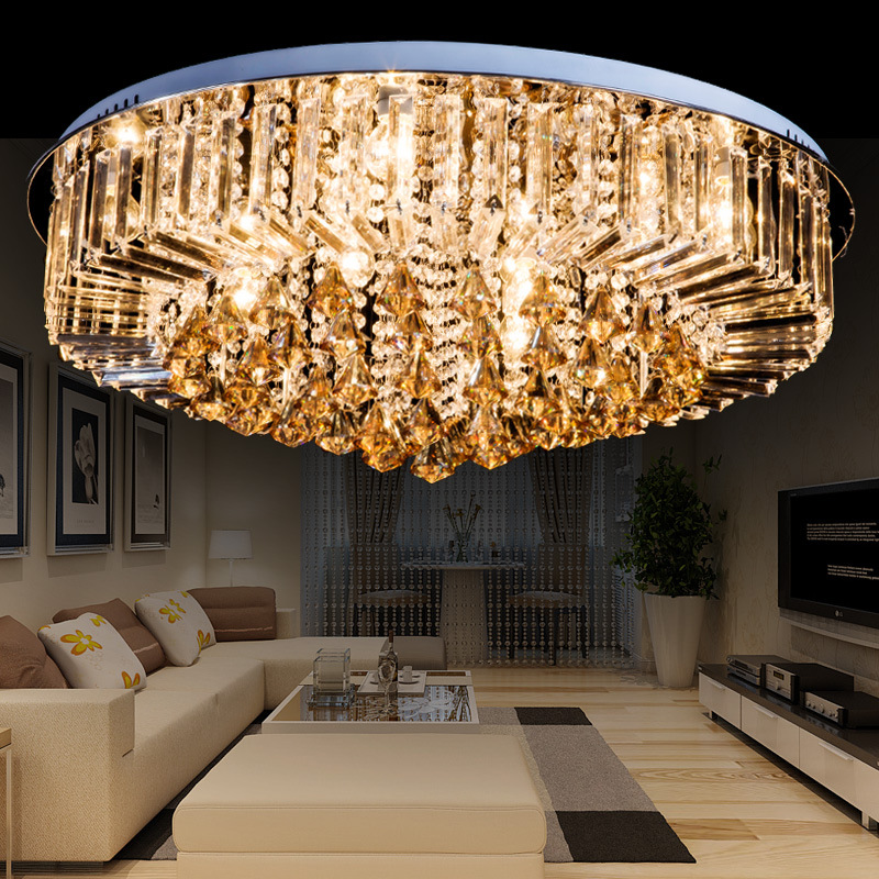 Crystal combination pot wholesale simple round K9 crystal ceiling lamp LED living room dining room lighting lamps ZZP modern simple oval bedroom lighting living room crystal ceiling lamp creative restaurant dining room led crystal hanging lamps