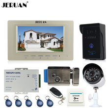 JERUAN Home Wired 7 inch Video door Phone Entry intercom System kit waterproof RFID Access Camera +700TVL Analog Camera + E-lock