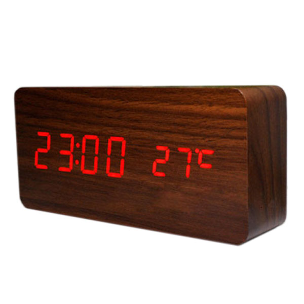 Voice Control Calendar ThermometerRectangle Wood Wooden LED Digital Alarm Clock USB/AAA Brown Wood Red LED