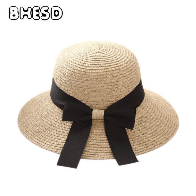 98e3ee6767ae22 BHESD 2017 Wide Brim Beach Hat Pink Women Sun Straw Hat Female Khaki UV  Protection Straw Cap Big Bow Sun Bonnet Bone Gorro JY528