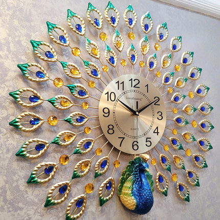 Peacock Wall Clock Modern Brief Pocket Watch Mute