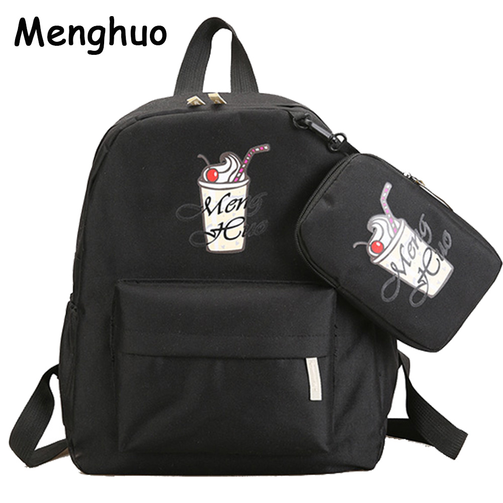 Menghuo Women Canvas Backpack Fashion Cute Travel Bags Printing Backpacks 2pcs/set New Style Laptop Backpack for Teenage Girls 1pc hight quality hot fashion unisex emoji backpacks 3d printing bags drawstring backpack nov 10