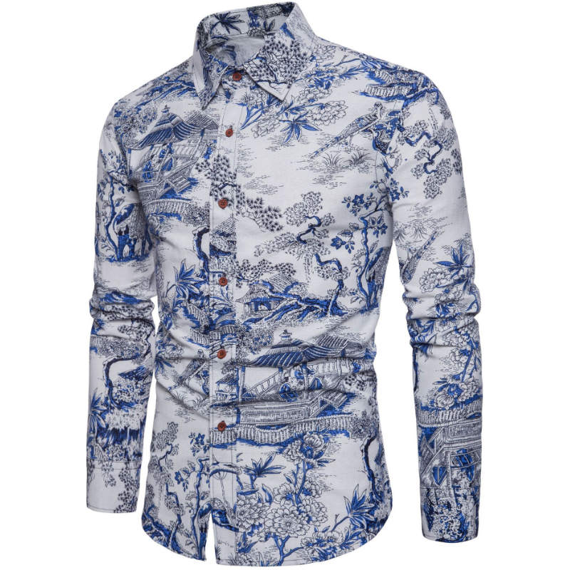 Casual Men Shirt Long Sleeve Europe Style Fit Shirt Cotton Floral Shirts