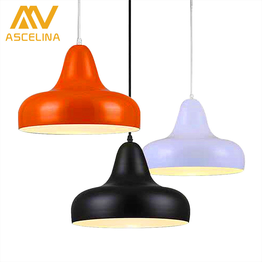 ФОТО Modern Brief Aluminum Cover Black/Red/White/Yellow/Purple Dining Room Pendant Light With E27 LED Lights Pendant Lamp