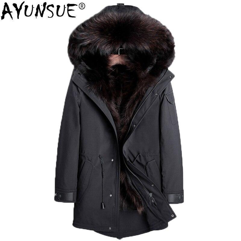 AYUNSUE парка натуральный мех пальто Для мужчин зимняя куртка мехом енота лайнер плюс Размеры Роскошные куртки ветровки 2018 манто Homme Hiver KJ1156
