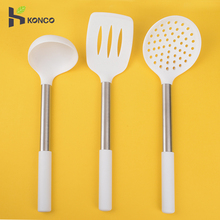 KONCO White Silicone Cook Utensils Spoon, Spatula,Turener, Colander Slotted Spoon Non-stick Cooking Tools
