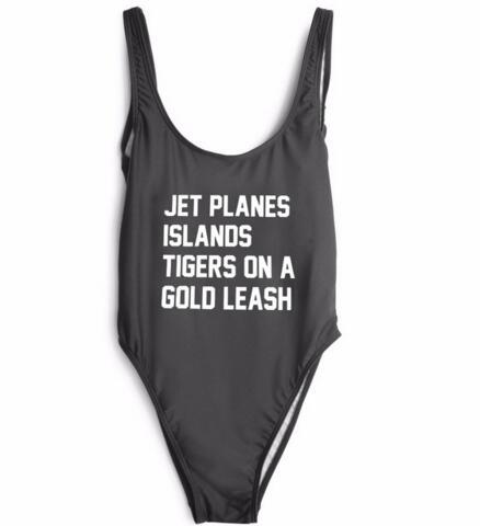 JET PLANES ISLANDS TIGERS ON A GOLD LEASH Swimwear Swimsuit One Piece Bodysuit Backless Beachwear Girl Summer Bathing Suits