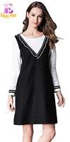XL XXL 3XL 4XL 5XL Plus Size Wool New Winter 2017 Elegant Dress Women Long Sleeve