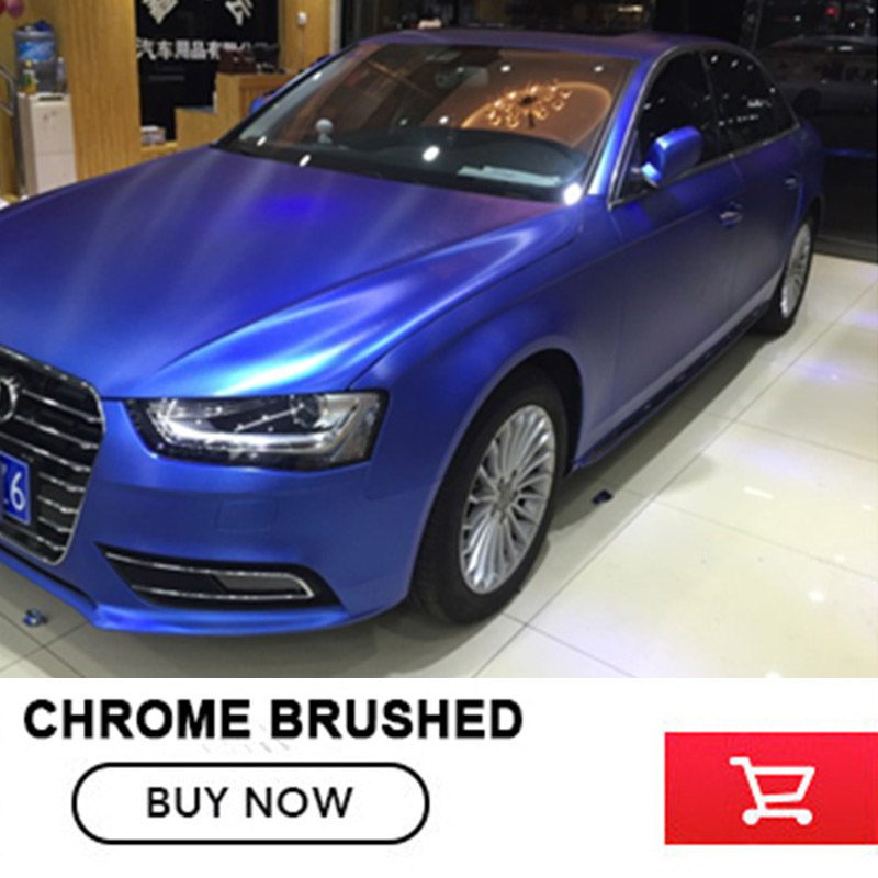 Low price 1.52m*20m/roll for 1 car chrome brushed dark blue vinyl wrap car wrapping brush stell wrap foil with bubble free high quality stretchable chrome black vinyl wrap sheet roll for car wrapping air free bubble