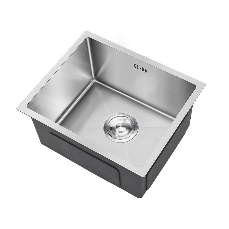 Kitchen Sinks 15inch 304 Stainless Steel Brushed Kitchen Undermount Sink Basket Strainer Single Bowel  Sink send from Russia