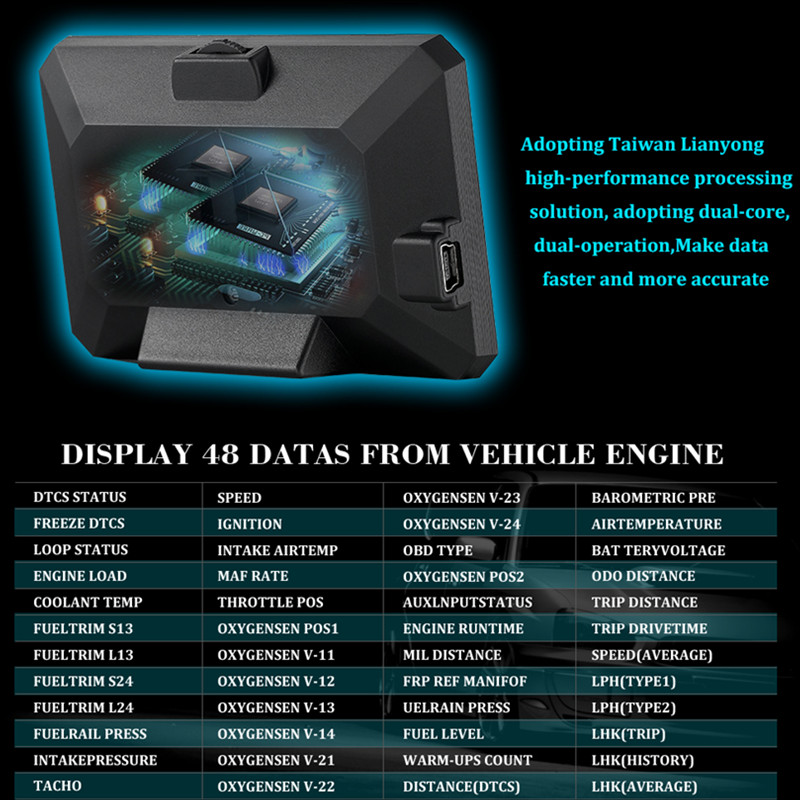 Image 3 - GEYIREN P16 ヘッドアップディスプレイ hud obd2 温度車キロ/h MPH ターボ過給圧速度プロジェクター風防カー hud -    グループ上の 自動車 &バイク からの ヘッドアップディスプレイ の中