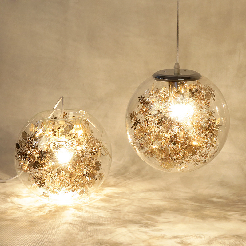 Modern Globe Led Pendant Light Lustre Glass Fish Tank Steel Flower Pendant Lamp Indoor Hanglamp Lampara Fixtures 6e 500l wholesale china import water filter for uf water purifier